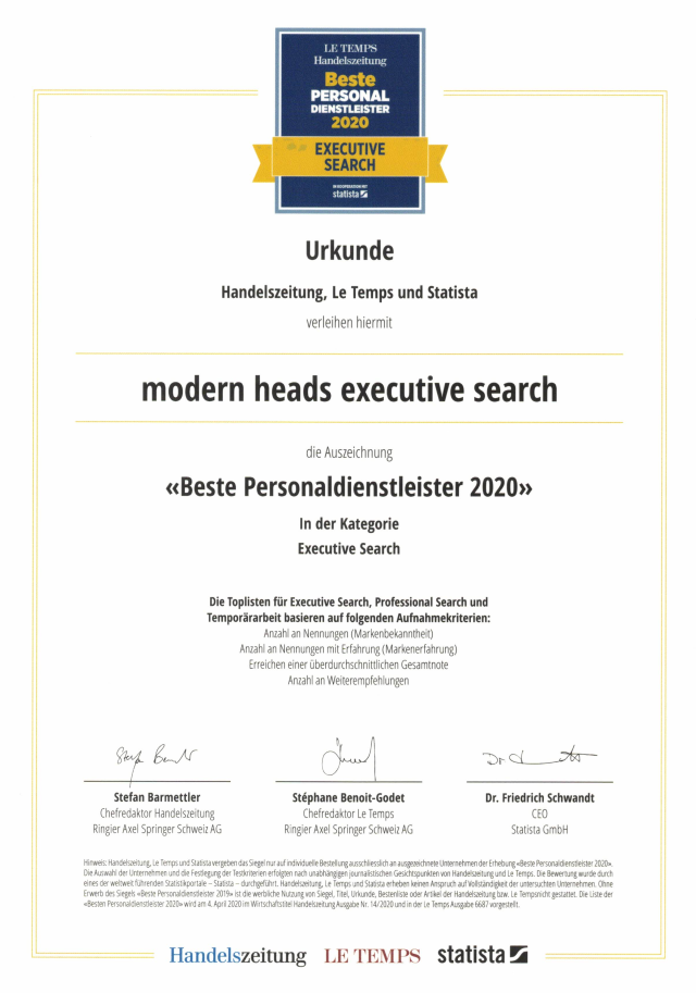 Modern heads executive search - beste Personaldienstleister 2020